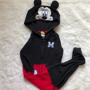 Mickey Mouse Footed Onesie Size 2T With Hood